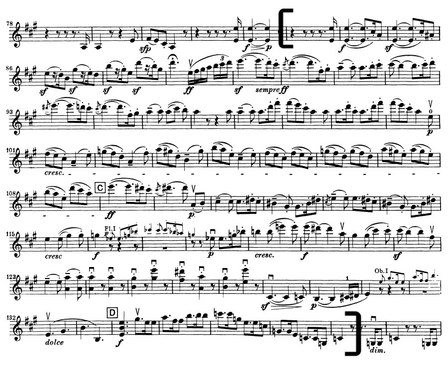 Beethoven 7 orchestral violin excerpt